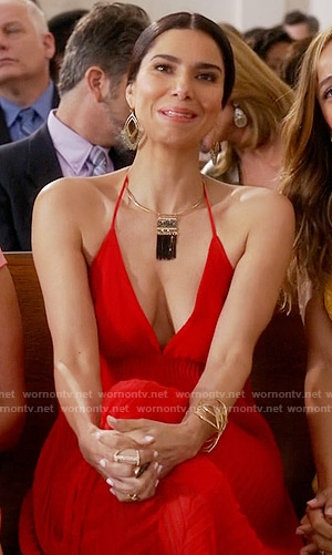 Carmen's red pleated halter neck dress on Devious Maids