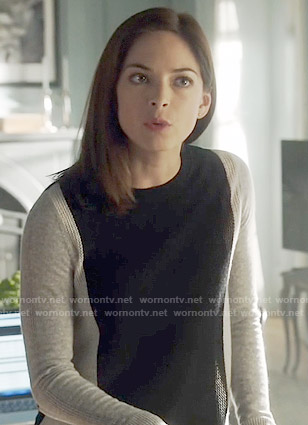 Cat's colorblock sweater on Beauty and the Beast