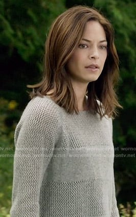 Cat's grey knit panel sweater on Beauty and the Beast