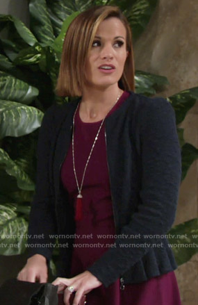 Chelsea's purple fit and flare dress and navy tweed peplum jacket on The Young and the Restless