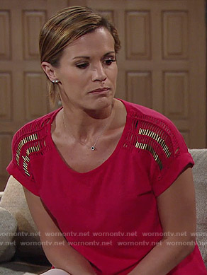 Chelsea's red top with beaded shoulders on The Young and the Restless