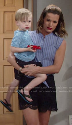 Chelsea's blue striped shirt and lace shorts on The Young and the Restless
