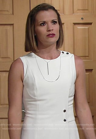 Chelsea's white wrap dress with silver buttons on The Young and the Restless