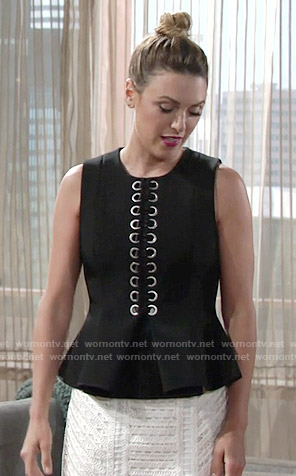 Chloe's black lace-up front peplum top on The Young and the Restless