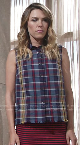 Chloe's sleeveless plaid shirt and red striped skirt on The Young and the Restless