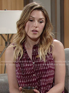 Chloe's burgundy printed sleeveless shirt on The Young and the Restless