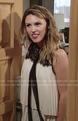 Chloe's pleated lace panel top on The Young and the Restless