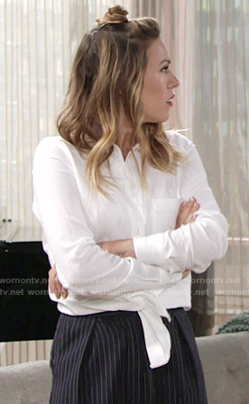 Chloe's white tie-front shirt and pinstripe trousers on The Young and the Restless
