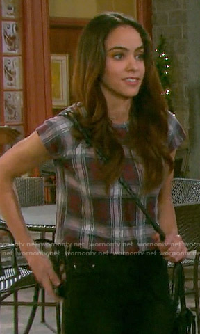 Ciara's red plaid top on Days of our Lives