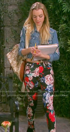 Claire's floral jeans and denim jacket on Days of our Lives