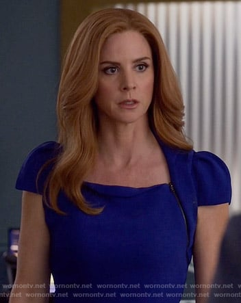Donna's blue capped sleeve dress on Suits