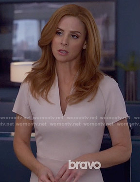 Donna's nude v-neck dress on Suits