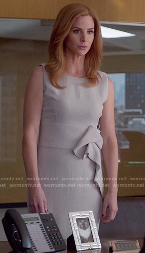 Donna's taupe ruffled dress on Suits