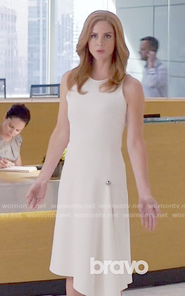 Donna's white dress with silver button on Suits