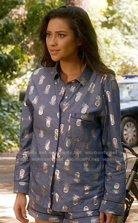 Emily's blue and silver pineapple pajamas on Pretty Little Liars