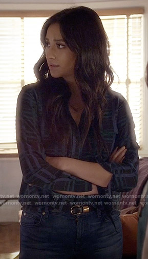 Emily's dark plaid blouse on Pretty Little Liars