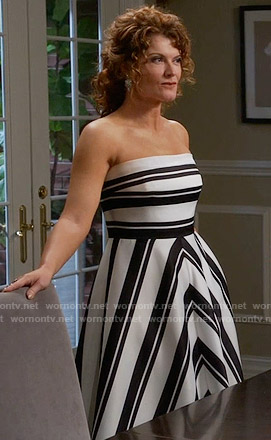 Evelyn's black and white striped strapless gown on Devious Maids