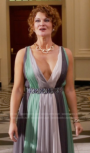 Evelyn's colorblock gown on Devious Maids