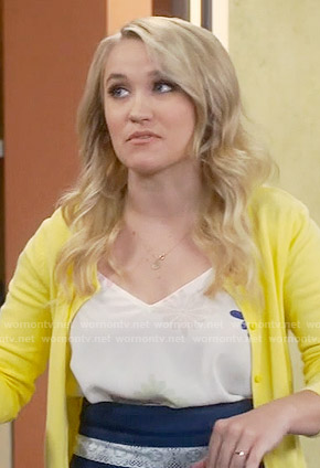 Gabi's white flower printed camisole top on Young and Hungry