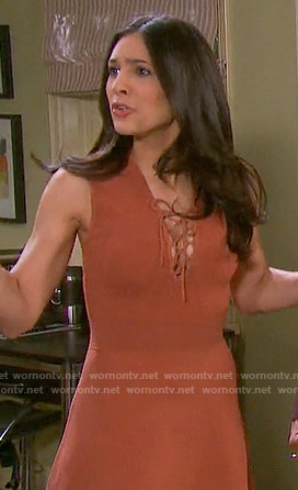 Gabi's orange lace-up dress on Days of our Lives