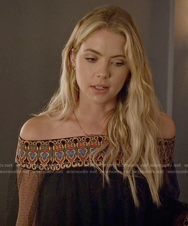 b7e4f8db4e62f Hanna s black embroidered off-shoulder top on Pretty Little Liars