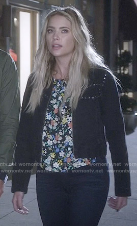 Hanna's floral top and studded black jacket on Pretty Little Liars