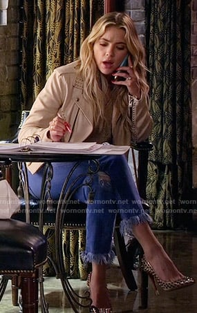 Hanna's cream studded leather jacket and frayed jeans on Pretty Little Liars