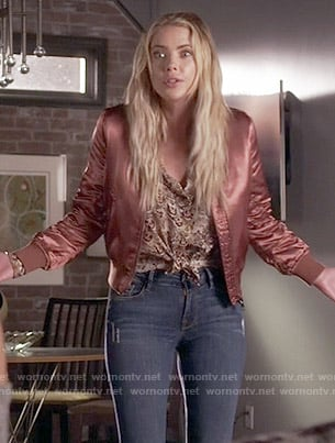 Hanna's pink bomber jacket on Pretty Little Liars