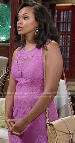 Hilary's purple lace dress on The Young and the Restless