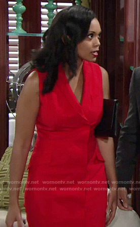 Hilary's red sleeveless vest style dress on The Young and the Restless