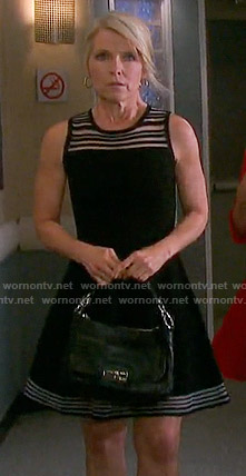 Jennifer's black striped panel a-line dress on Days of our Lives