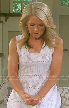 Jennifer's white striped v-neck fit and flare dress on Days of our Lives