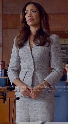 Jessica's grey marled peplum jacket on Suits