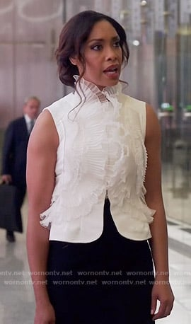 Jessica's white ruffled front vest on Suits