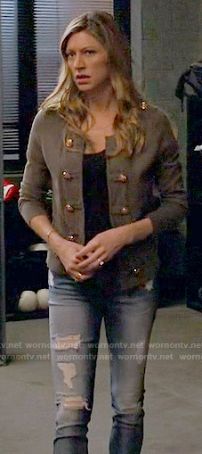 Josslyn's military jacket and jeans on Mistresses