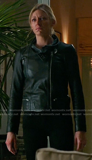 Josslyn's leather funnel neck jacket on Mistresses