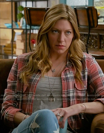 Josslyn's red plaid shirt and star print jeans on Mistresses