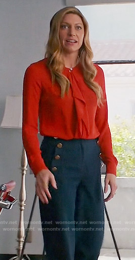 Josslyn's red ruffled front blouse and navy button front trousers on Mistresses