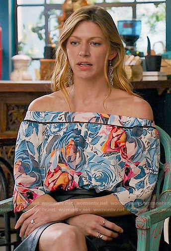 Josslyn's rose print off-shoulder top on Mistresses