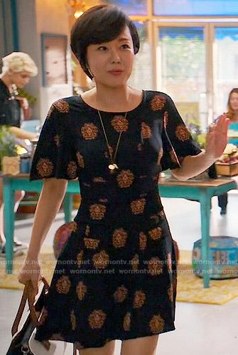 Karen's black medallion print dress on Mistresses