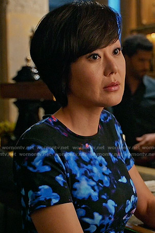 Karen's black and blue floral dress on Mistresses