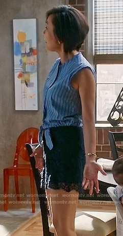 Karen's blue striped shirt and lace shorts on Mistresses