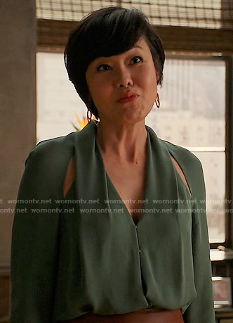 Karen's green blouse with cutout shoulders on Mistresses