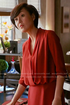 Karen's red blouson dress on Mistresses