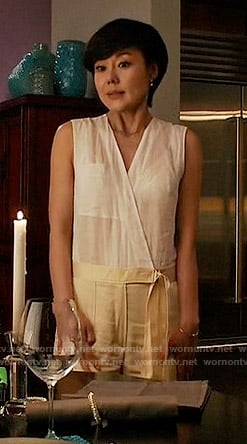 Karen's white and beige wrap jumpsuit on Mistresses