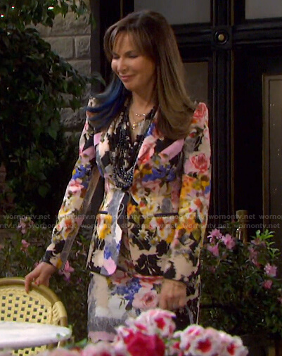 Kate's floral print suit on Days of our Lives