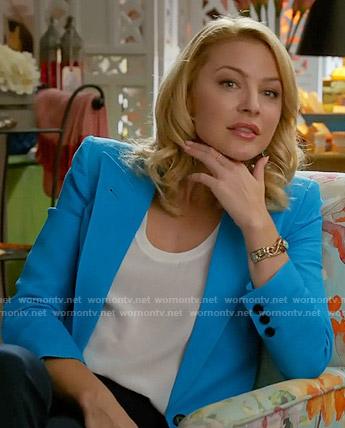 Kate's turquoise blue blazer on Mistresses