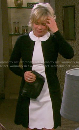 Kayla's black and white collared colorblock dress on Days of our Lives