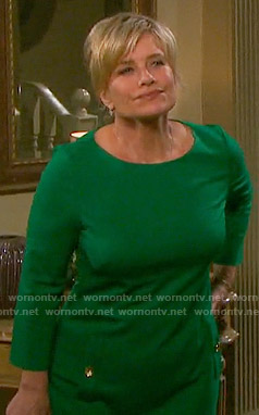 Kayla's green dress with gold buttons on Days of our Lives
