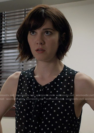 Laurel's sleeveless polka dot top on BrainDead
